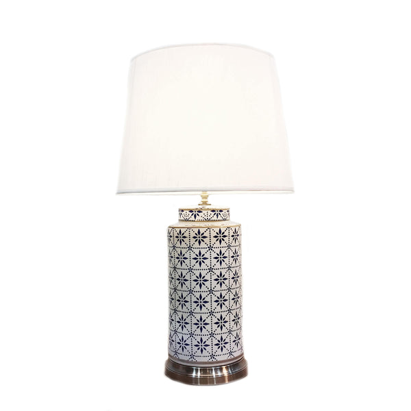 Tall ceramic table lamp with a tile print