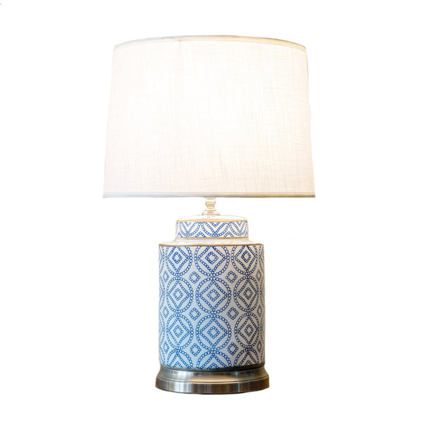Round blue & white table lamp