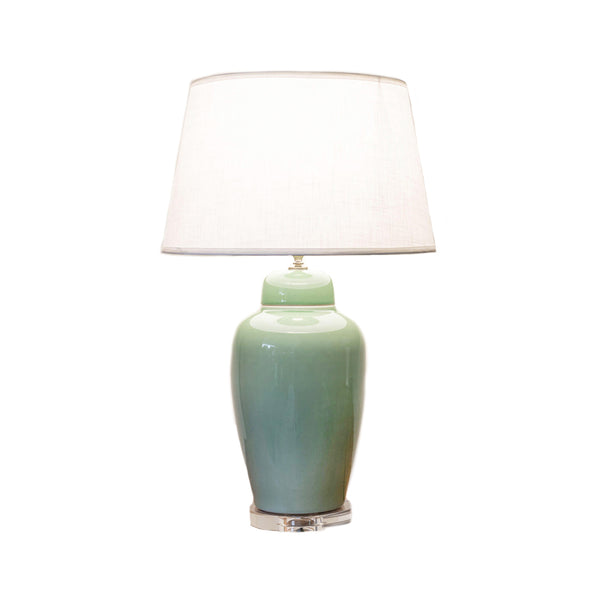 Tall round ceramic table lamp in celadon green