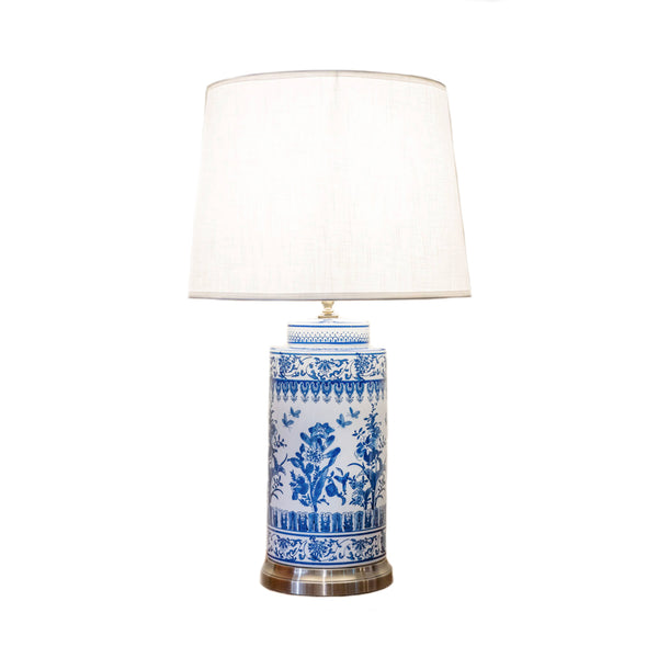 Tall round ceramic table lamp with metallic base