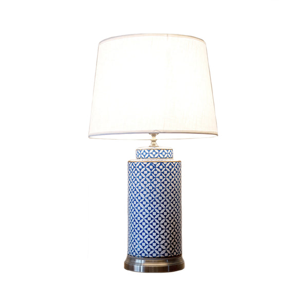 Tall round ceramic blue & white table lamp