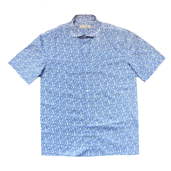 """IZU"" Sky Blue/White Japanese Seersucker Short Sleeved Shirt (Made To Order)"