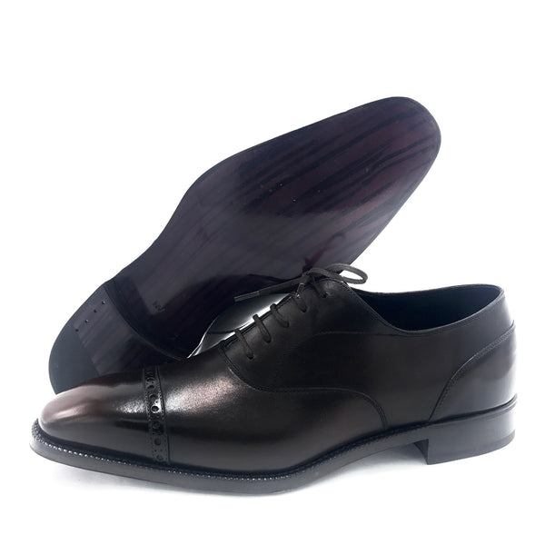 Black and Brown Cap Toe Oxford Shoe