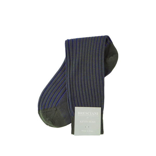 Green / Electric Blue Ribbed Mid Calf Socks