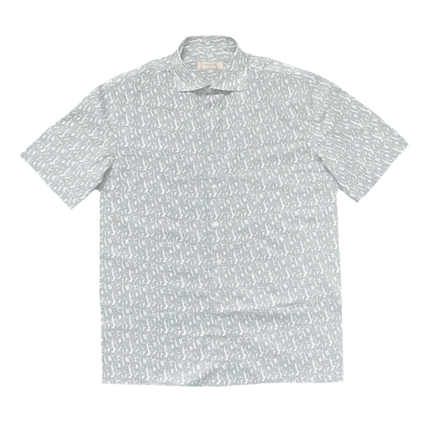 """IZU"" Light Grey/White Japanese Seersucker Short Sleeved Shirt (Made To Order)"