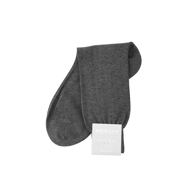 Grey / Navy Polka Dot Mid Calf Socks