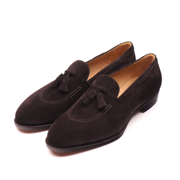 Dark Brown Suede Tassel Loafers