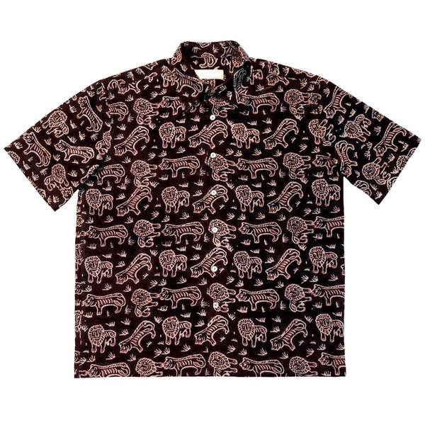 Black Block Print Short Sleeved Shirt - Tiger & Lion