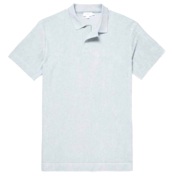 Short Sleeve Relaxed Fit Towelling Polo (Light Indigo)