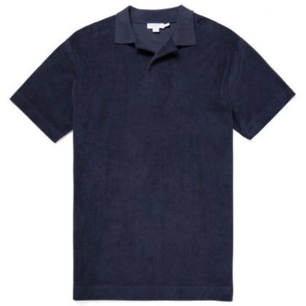 Short Sleeve Relaxed Fit Towelling Polo (Navy)