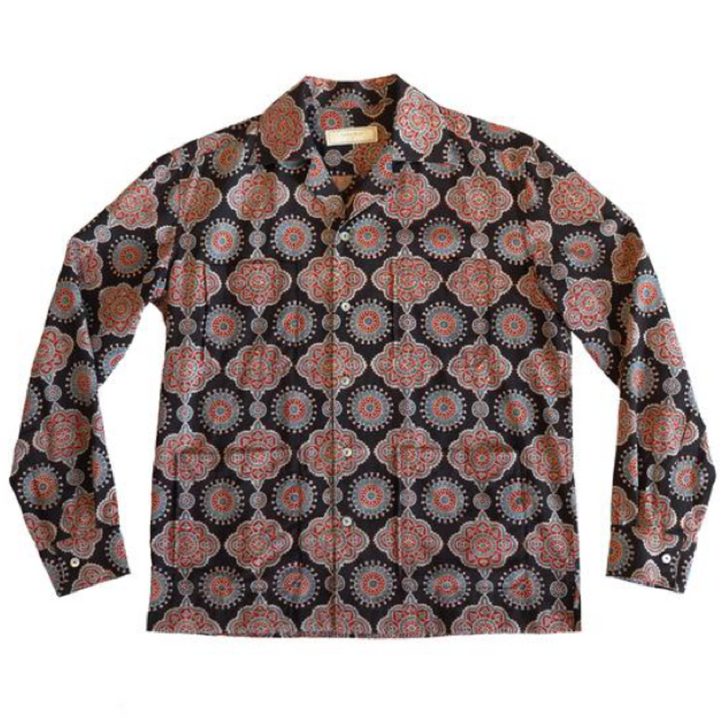 Black Block Print Long Sleeved Shirt