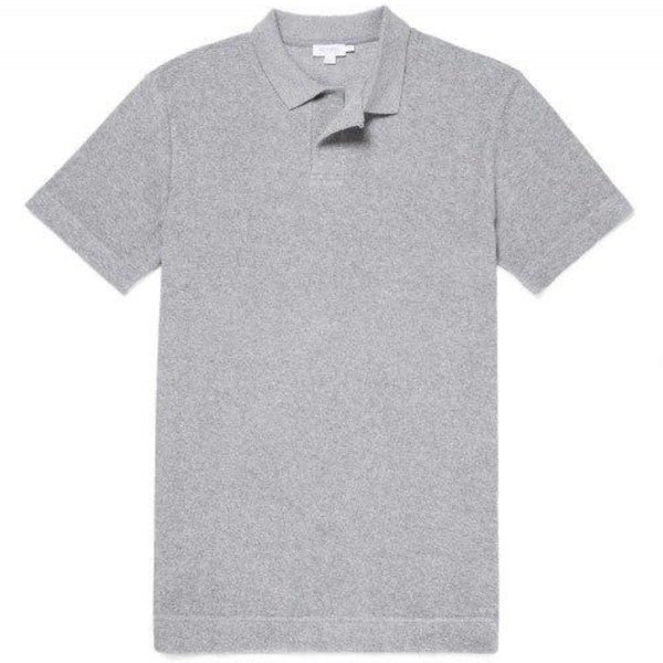 Short Sleeve Relaxed Fit Towelling Polo (Grey Melange)