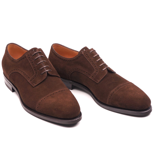 Chocolate Suede Full Brogue Cap Toe Derby