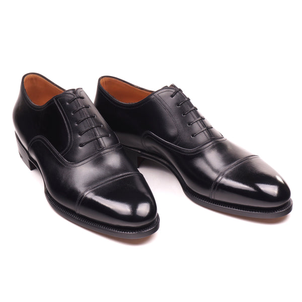 Black Calf Cap Toe Oxfords