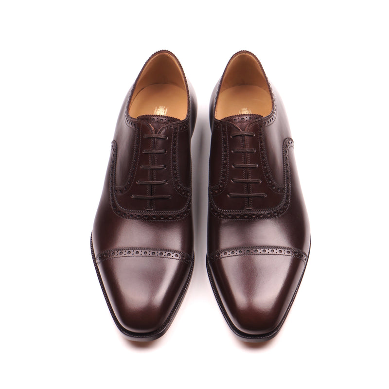 Dark Brown Calf Cap Toe Brogue Oxfords