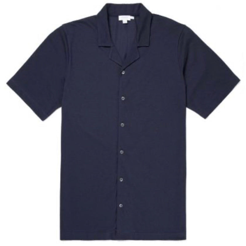 Pima Piqué Camp Collar Shirt (Navy)