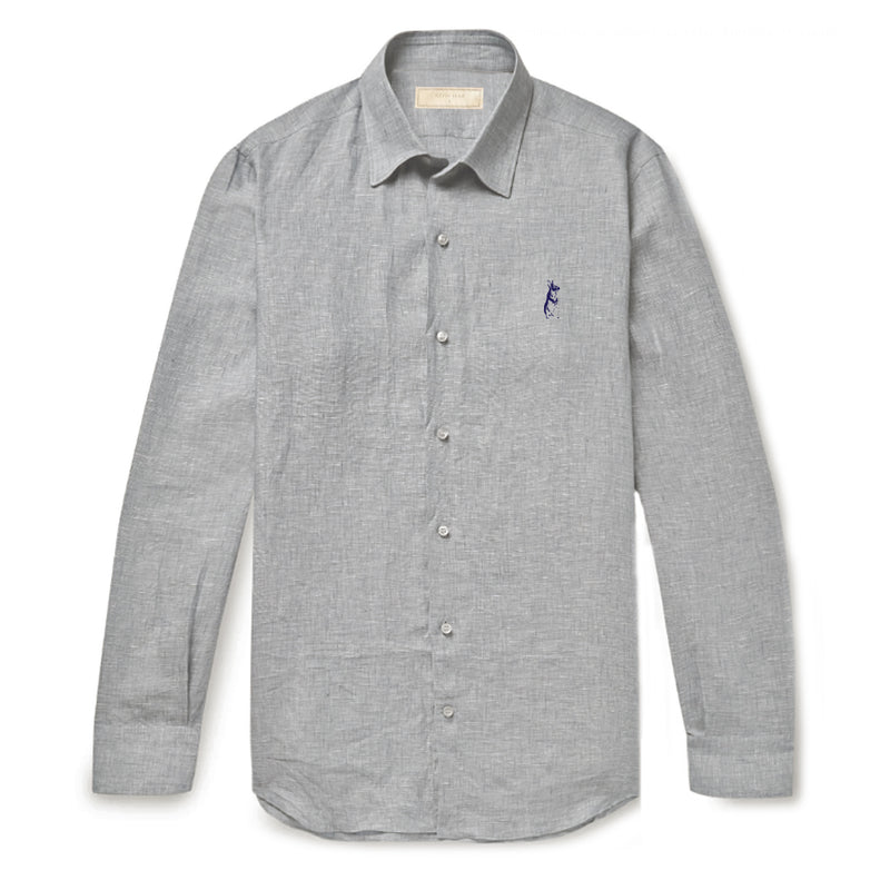 Classic Collar Light Grey Linen Long Sleeved Shirt