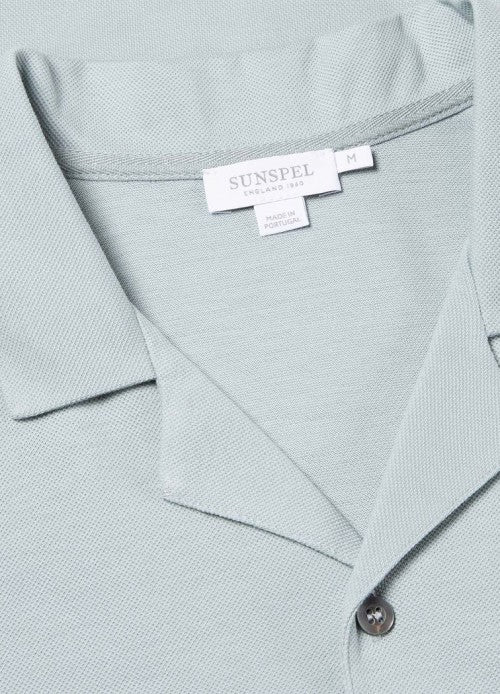 Pima Piqué Camp Collar Shirt (Light Indigo)