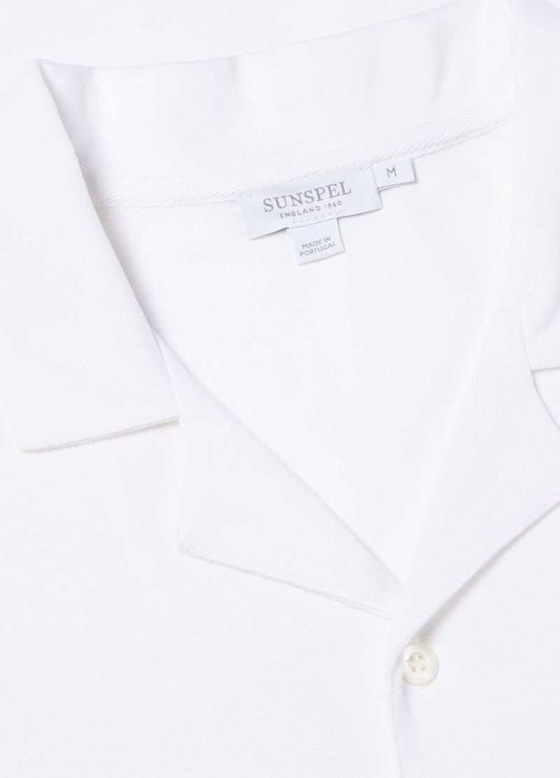 Pima Piqué Camp Collar Shirt (White)
