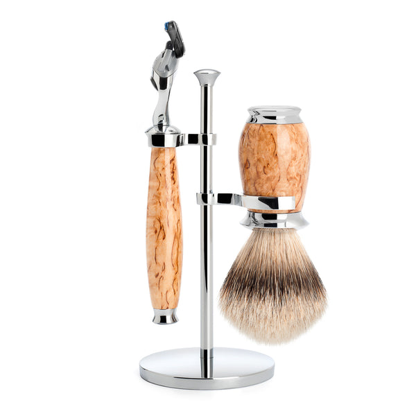 PURIST Shaving Set (Karelian Masur Birch/Gillette Fusion)