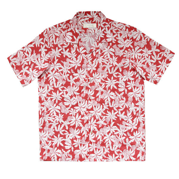 """Yuko"" Red Japanese Seersucker Short Sleeved Shirt (Made To Order)"