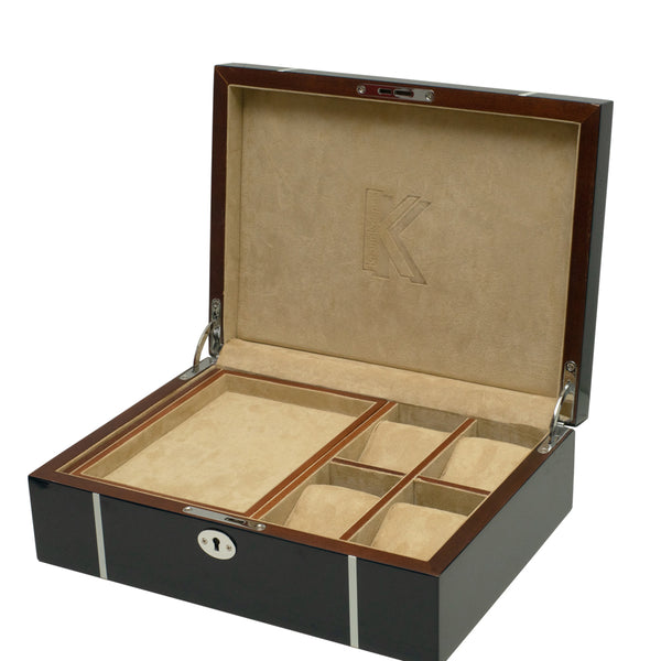 KronoKeeper Blue Lacquered Oak Wood Watchbox - 4 Watches and Accessories