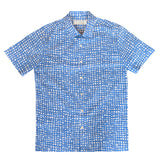 """GAKU II"" Blue Japanese Seersucker Short Sleeved Shirt (Made To Order)"