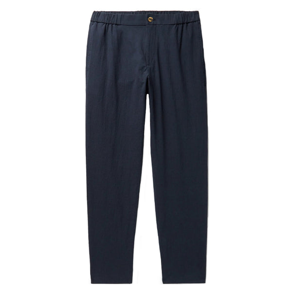 Navy Cotton Tailored Fit Relaxed Trousers (Made to Order)