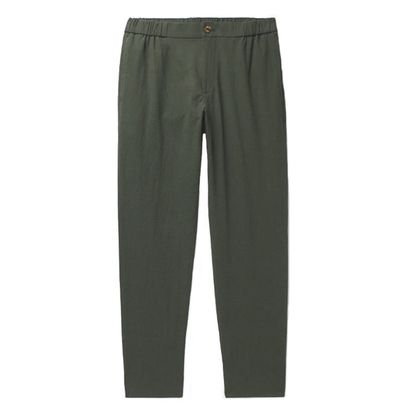 Olive Cotton Tailored Fit Relaxed Trousers (Made to Order)