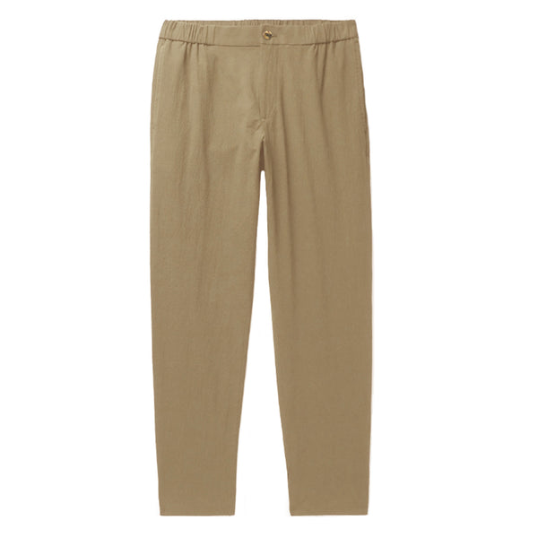 Khaki Cotton Tailored Fit Relaxed Trousers (Made to Order)