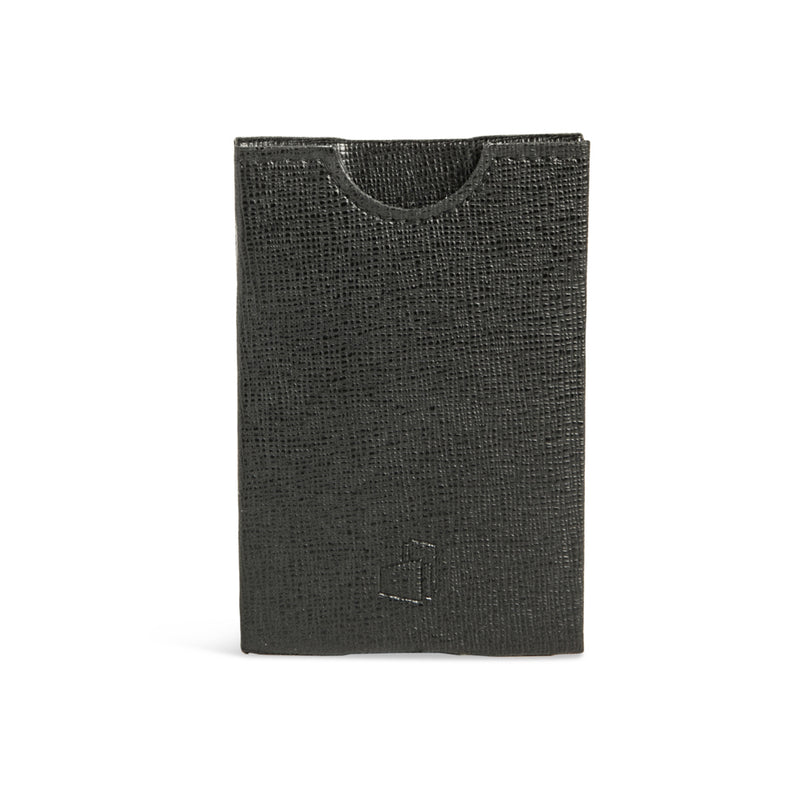 Milan Black Embossed Leather RFID Card Holder