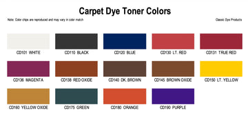 Carpet Dye Toner Colors