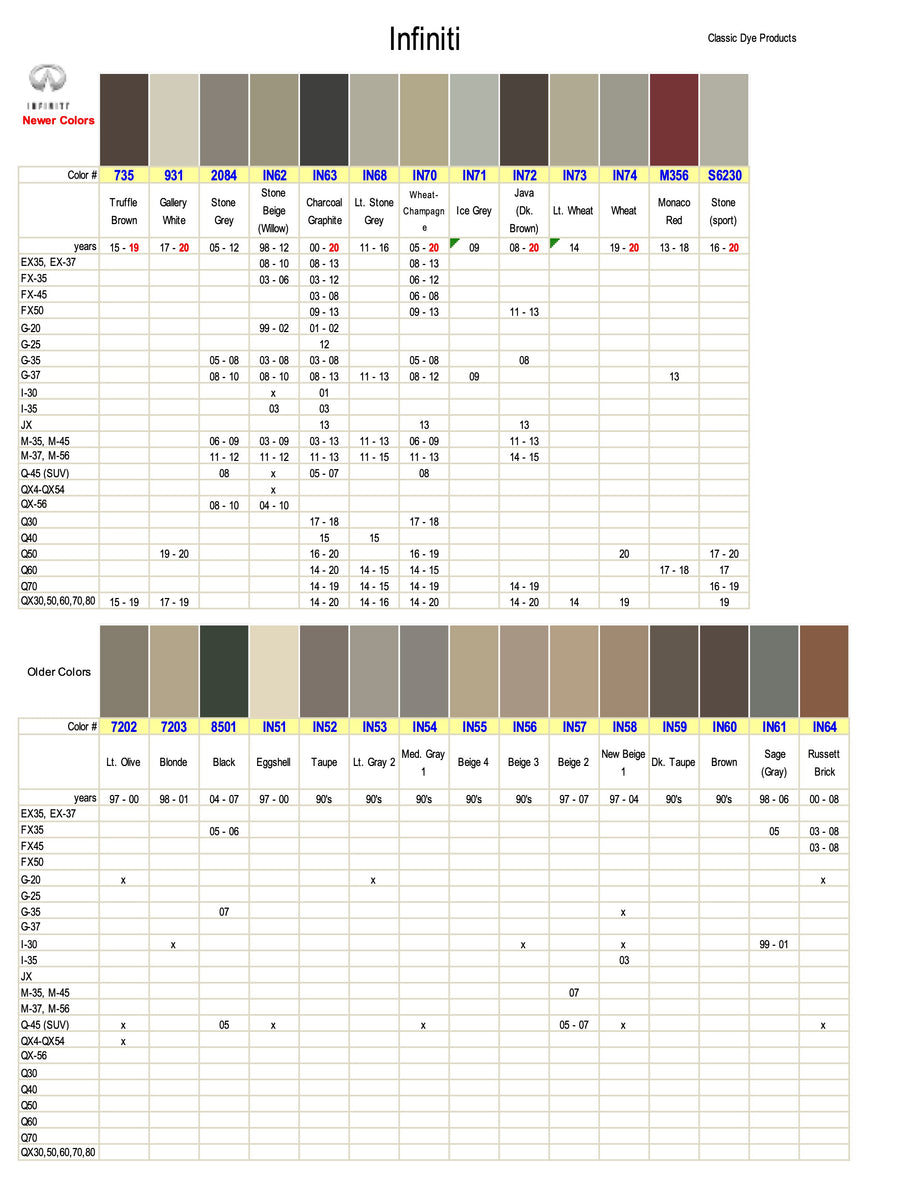 Infiniti Leather-Vinyl Dye Color Chart