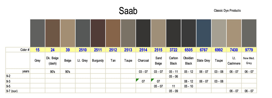 Saab Leather-Vinyl Dye Color Chart