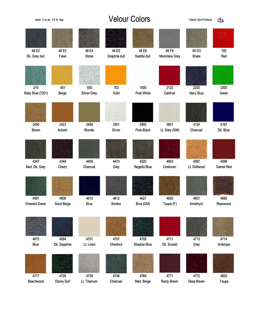VCC - Velour Color Chart