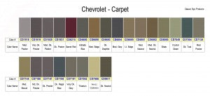 GM Chevrolet Carpet Dye Color Chart