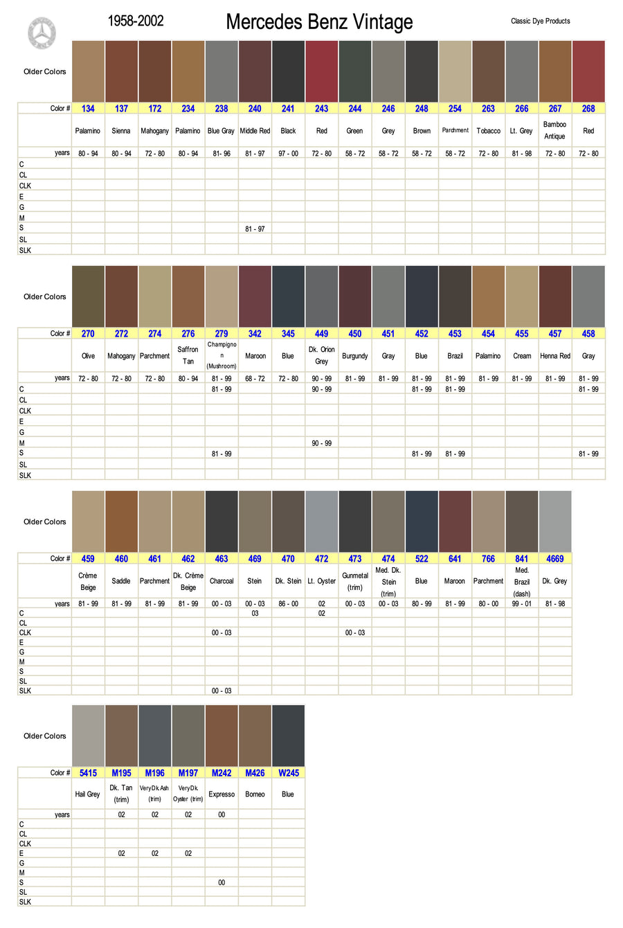 Mercedes Benz Vintage Leather-Vinyl Dye Color Chart