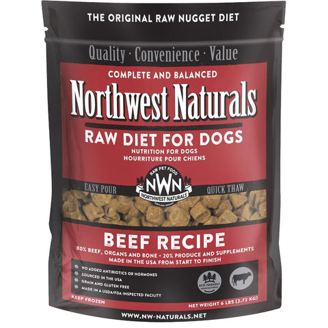 Northwest Naturals Raw Diet Beef Nuggets Raw Frozen Dog Food 6lb