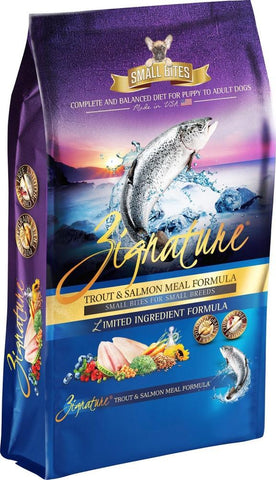 Zignature Trout & Salmon Meal Formula Small Bites Dry Dog Food 4lb