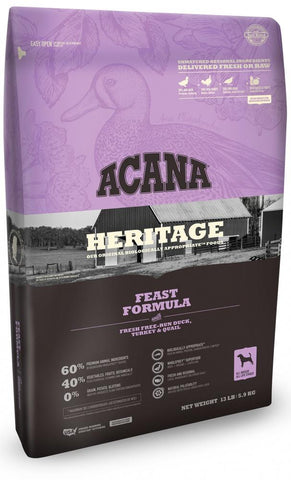 ACANA HERITAGE FEAST FORMULA GRAIN FREE DRY DOG FOOD 12oz Sample