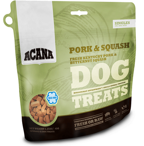ACANA SINGLES GRAIN FREE LIMITED INGREDIENT DIET PORK AND SQUASH FORMULA DOG TREATS 3.25oz