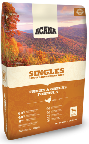 ACANA SINGLES LIMITED INGREDIENT DIET GRAIN FREE TURKEY & GREENS DRY DOG FOOD 25lb