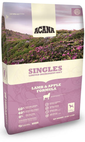 ACANA SINGLES LIMITED INGREDIENT DIET LAMB AND APPLE FORMULA GRAIN FREE DRY DOG FOOD 25lb