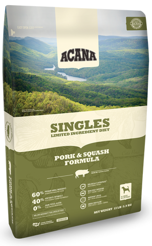 ACANA SINGLES LIMITED INGREDIENT DIET PORK AND SQUASH FORMULA GRAIN FREE DRY DOG FOOD 25lb