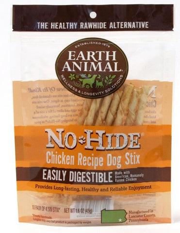 EARTH ANIMAL DOG NO-HIDE CHICKEN CHEW TREATS 10 Pack