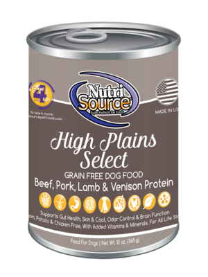 NutriSource Grain Free High Plains Select Canned Dog Food 13z