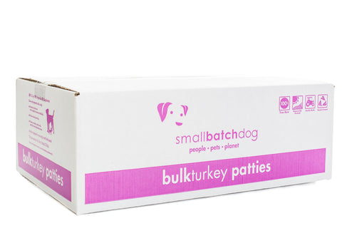 Small Batch 8z Turkey Patties Raw Frozen Dog Food BULK 18lbs, 36 Count