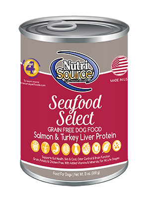 NutriSource Grain Free Seafood Select Formula Canned Dog Food 13z