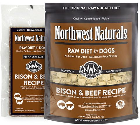 Northwest Naturals Raw Diet Bison Beef Dinner Bar 1 lb