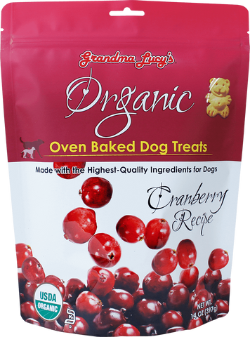 GRANDMA LUCY'S ORGANIC OVEN BAKED CRANBERRY FLAVOR DOG TREATS 14oz